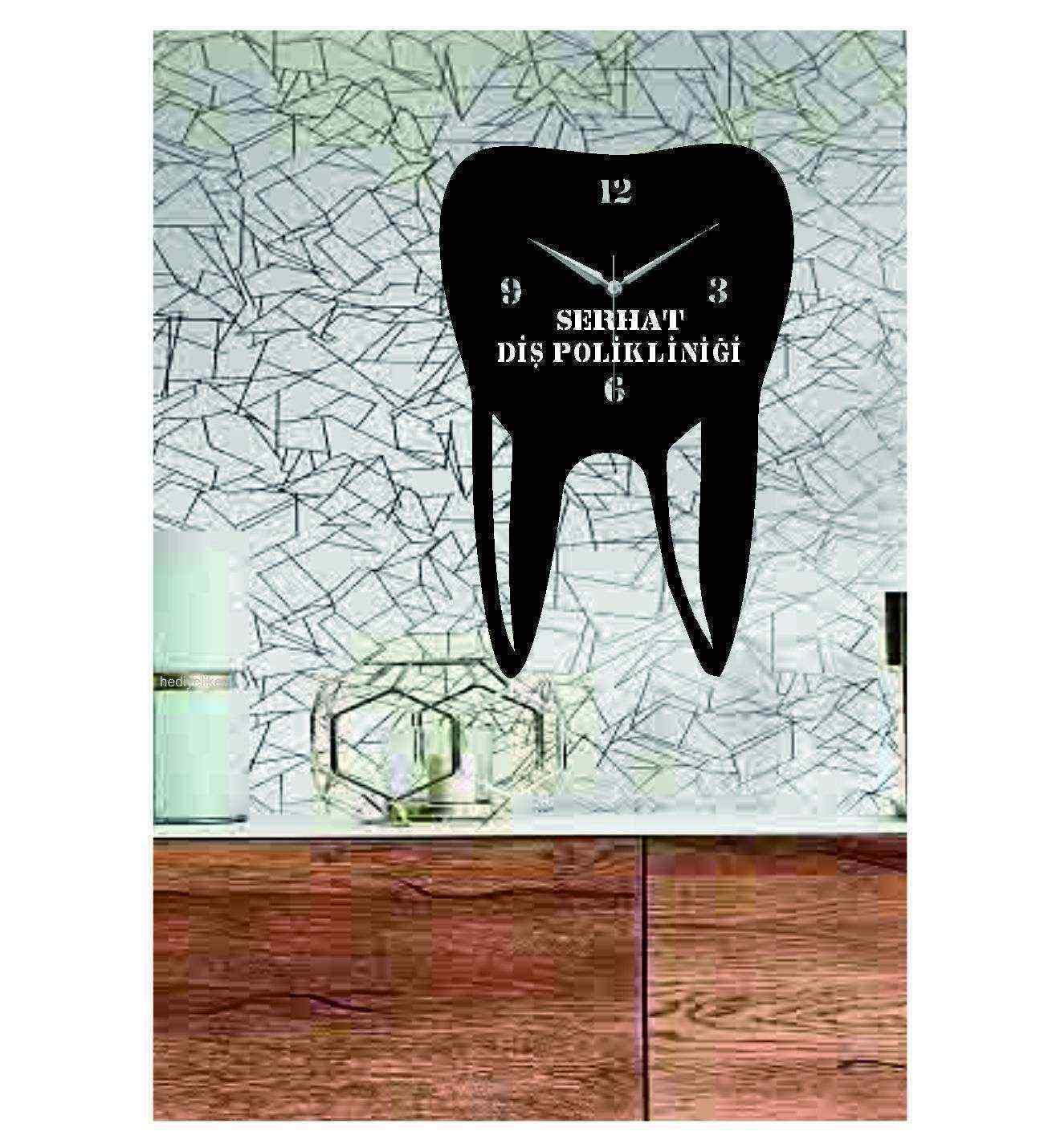Kişiye Özel İsimli Diş Temalı Dekoratif Ahşap Duvar Saati