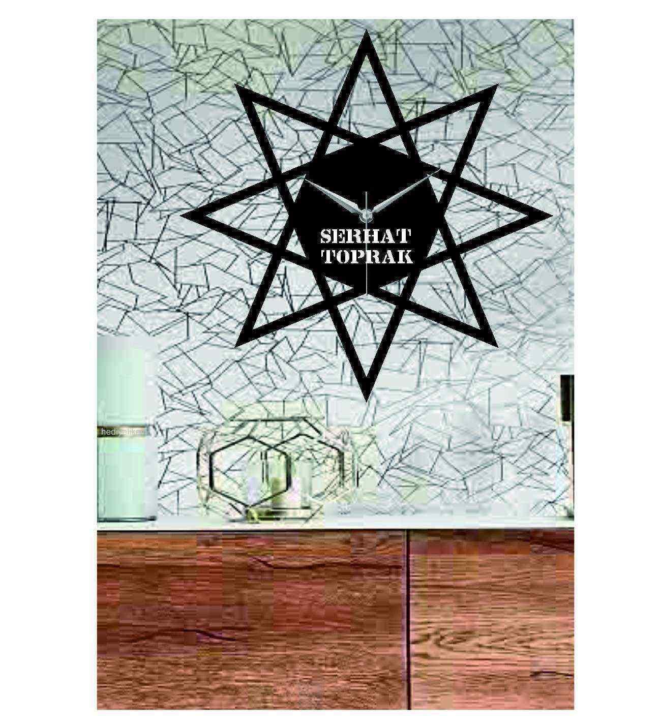 Kişiye Özel Yıldız Temalı Ahşap Duvar Saati