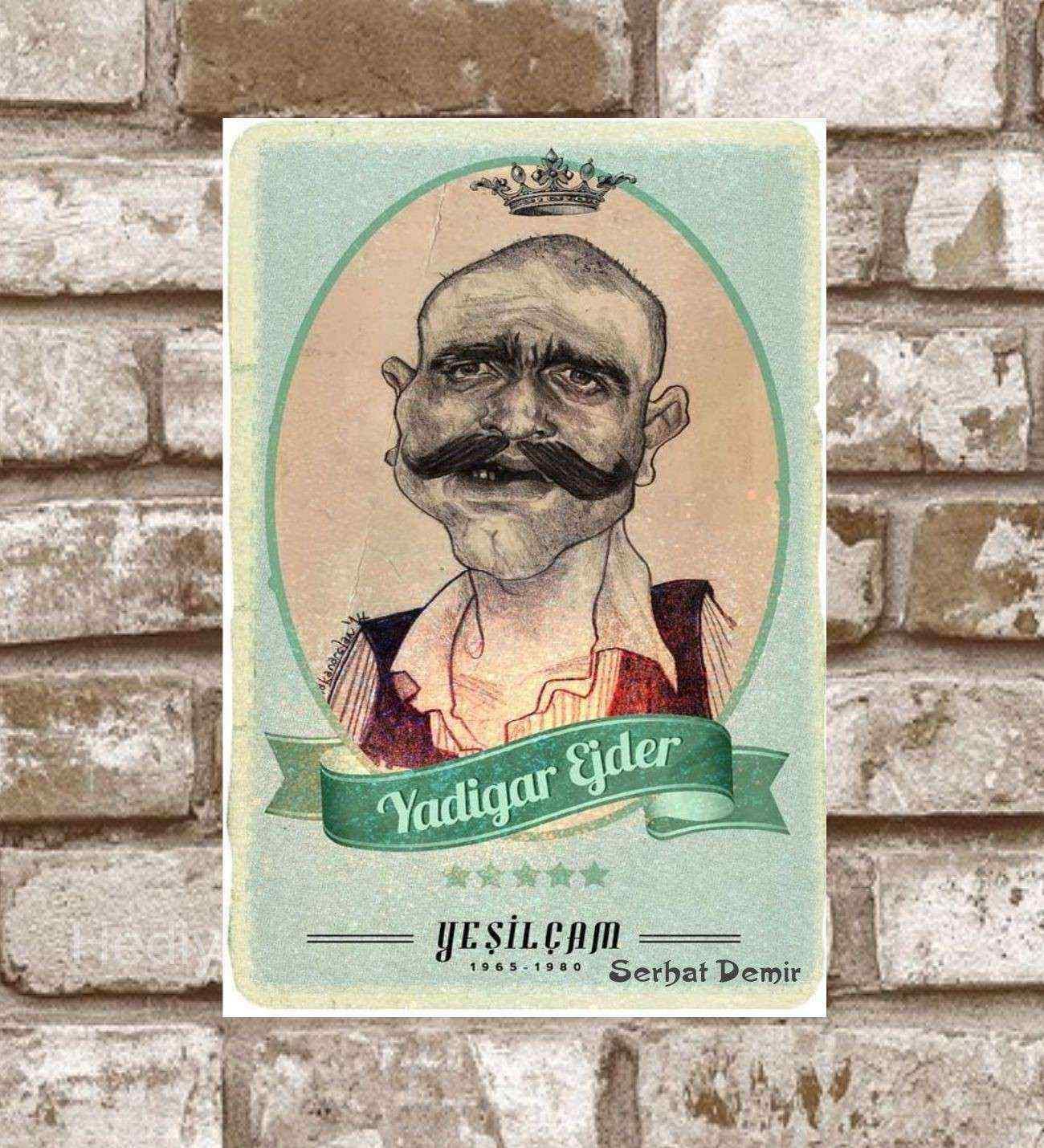 Kişiye Özel Metal Yeşilçam Yadigar Ejder Retro Poster (29x19)