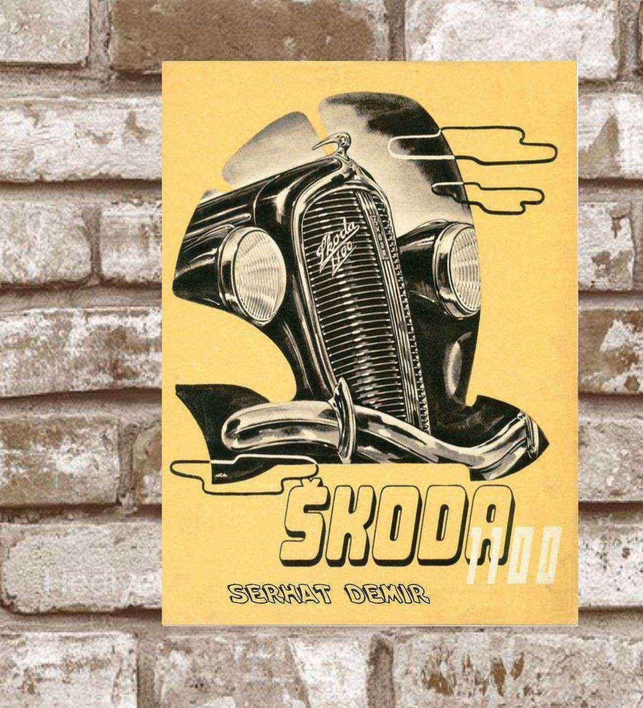 Kişiye Özel Metal Skoda 1100 Retro Poster (29x19)