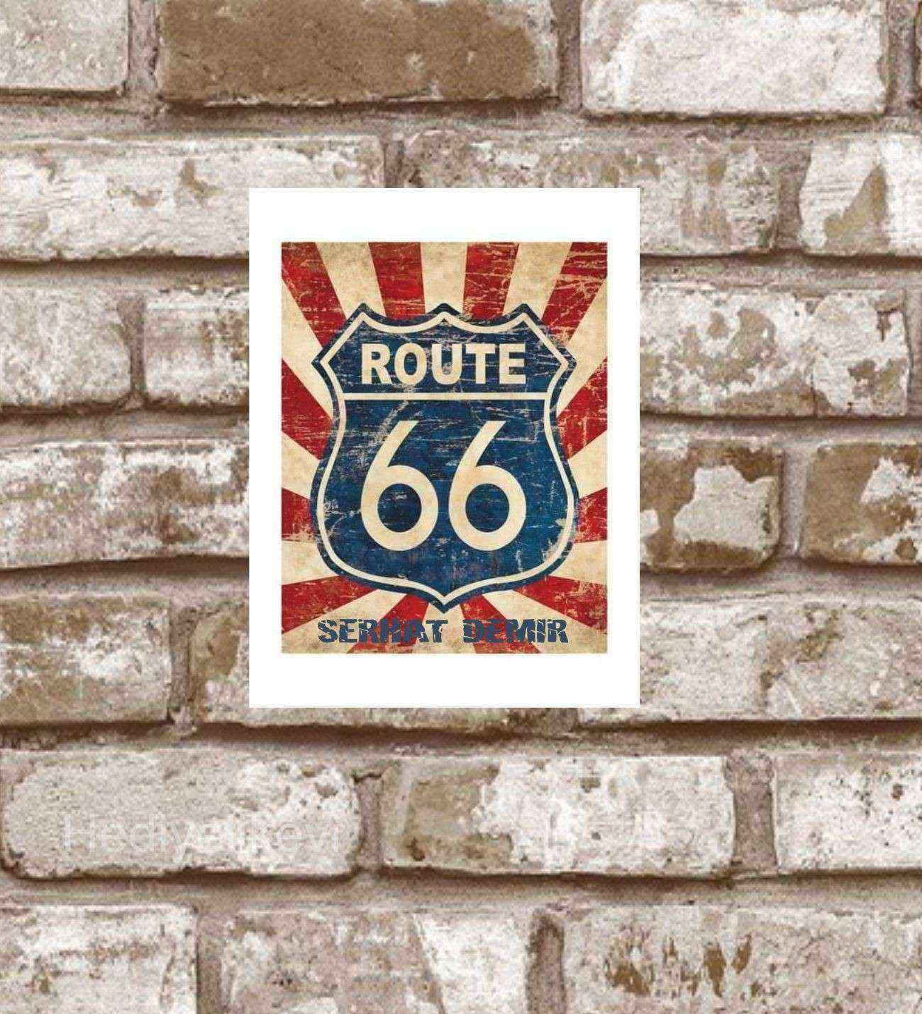 Kişiye Özel Metal  Route 66 Retro Poster (29x19)