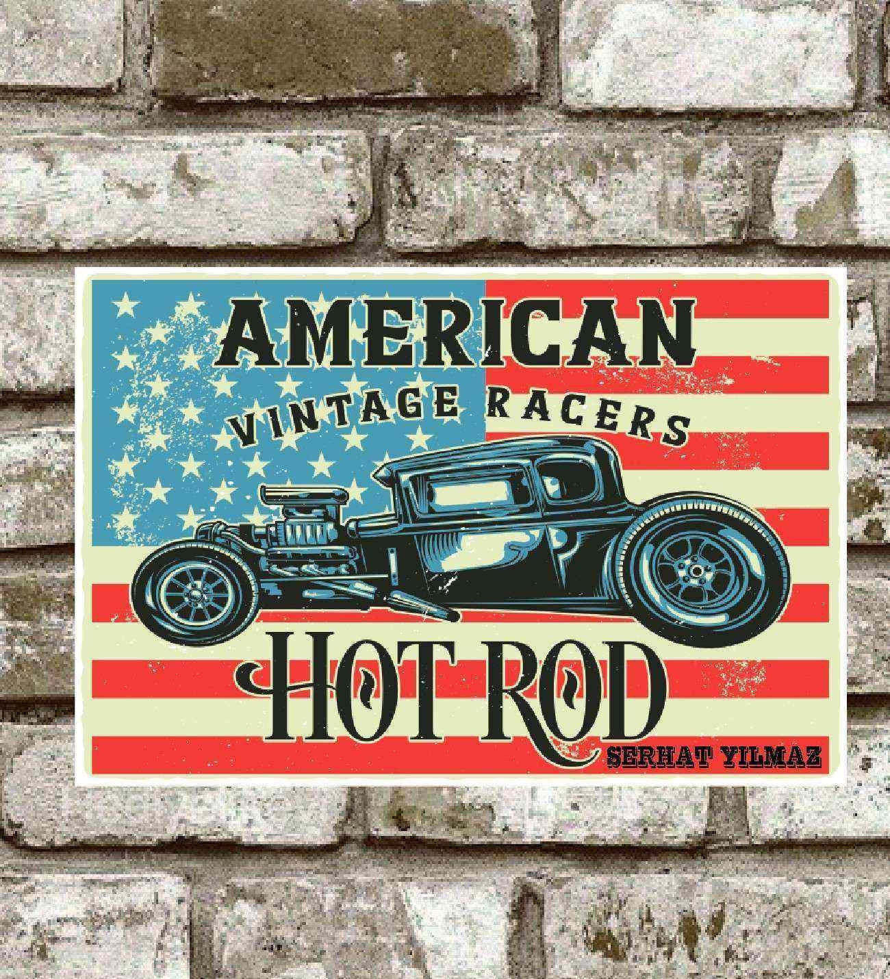 Kişiye Özel Metal Amerıcan Hot Rod Retro Poster  (29x19)