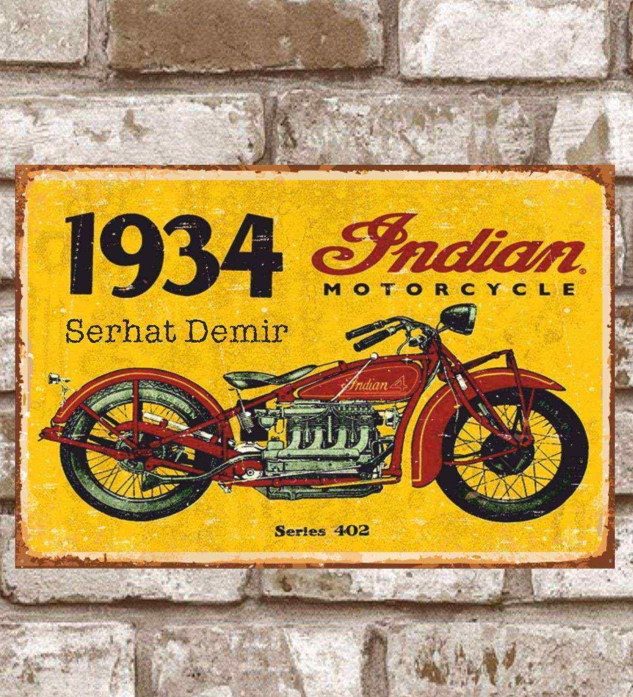 Kişiye Özel Metal 1934 Indian Motorcycle  402 Retro (29x19)