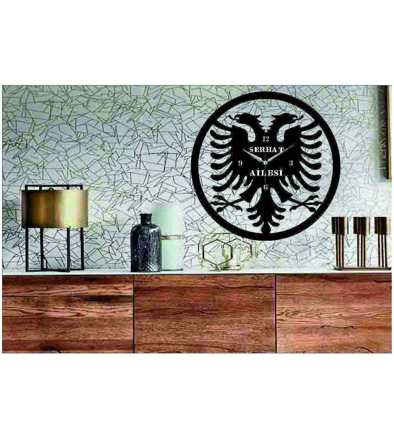 Kişiye Özel İsimli Kosova Temalı  Ahşap Duvar Saati