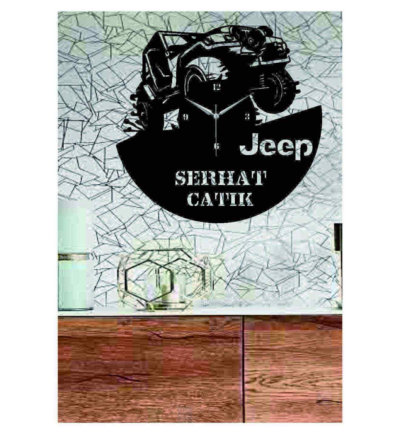 Kişiye Özel İsimli Jeep 4x4 Off Road  Ahşap Duvar Saati