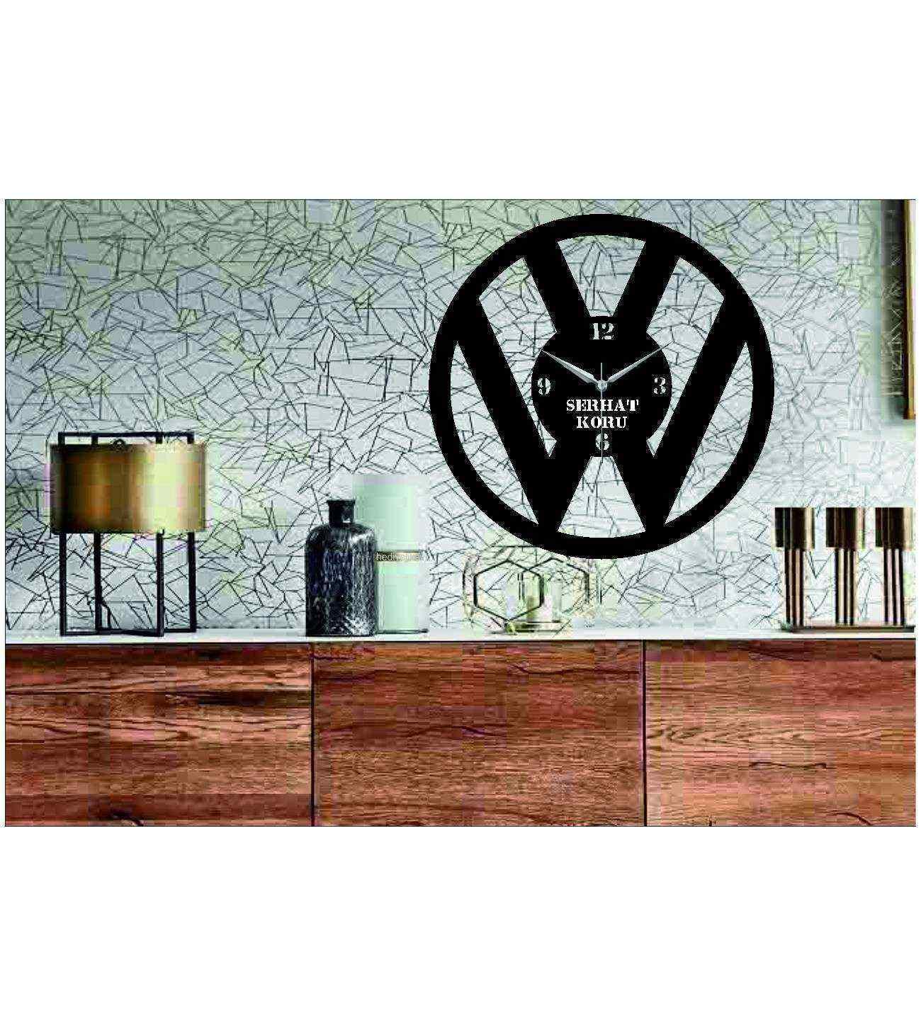 Kişiye Özel İsimli  Volkswagen Temalı Ahşap Duvar Saati