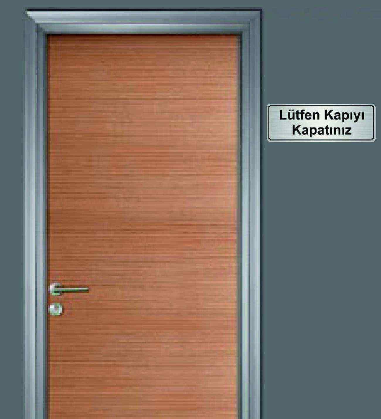 10x20 cm Lütfen Kapıyı Kapatınız Yazılı Metal Yönlendirme Levhası