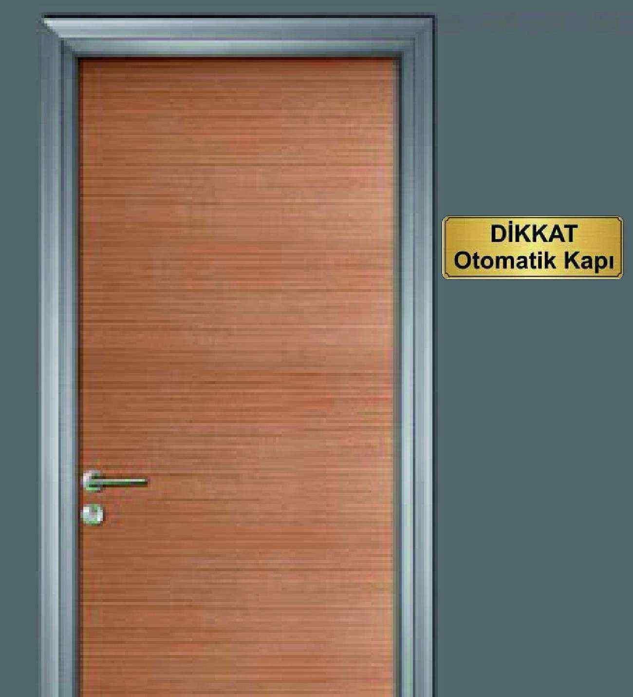 10x20 cm Dikkat Otomati Kapı Yazılı Metal Yönlendirme Levhası