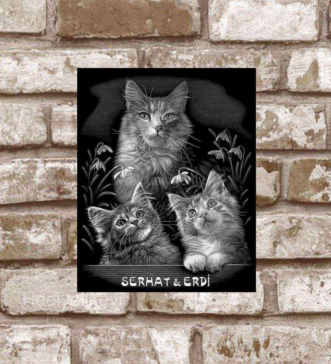 Kişiye Özel Metal Kediler Ailesi Retro Poster (29x19)