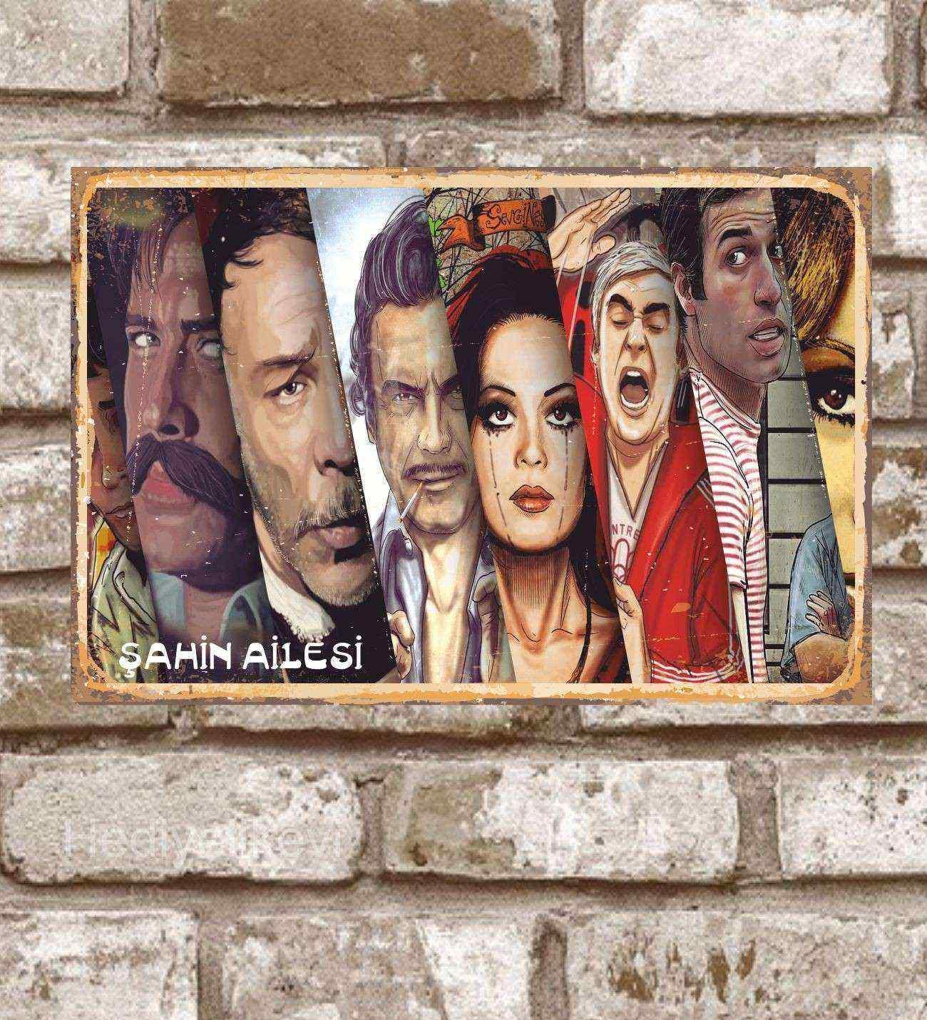 Kişiye Özel Metal Yeşilçam Ünlüleri  Retro Poster (29x19)