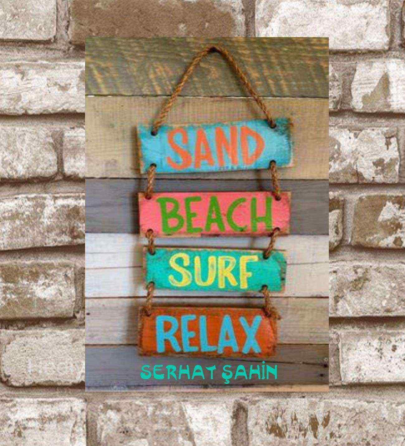 Kişiye Özel Metal Sand Beach Surf Relax Retro Poster (29x19)