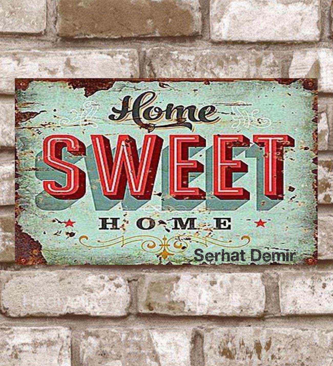 Kişiye Özel Metal Home Sweet Home Retro Poster (29x19)