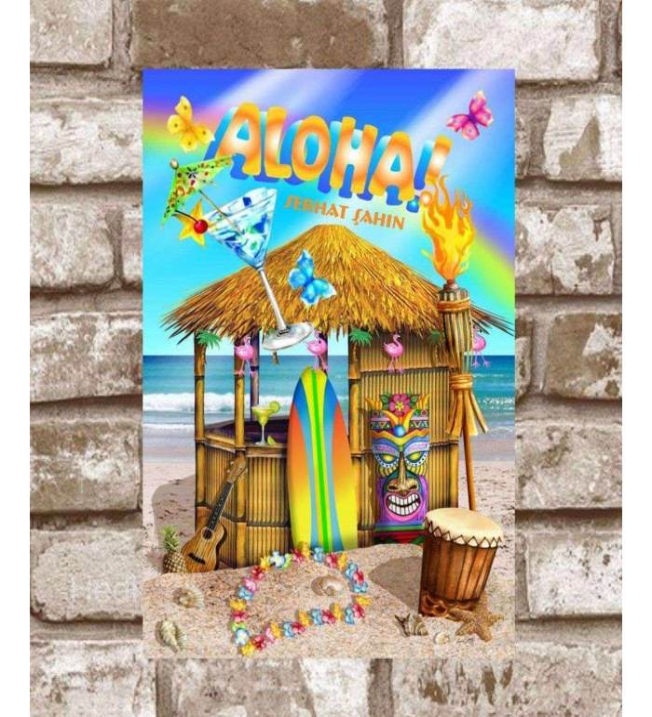 Kişiye Özel Metal Aloha Retro Poster (29x19)