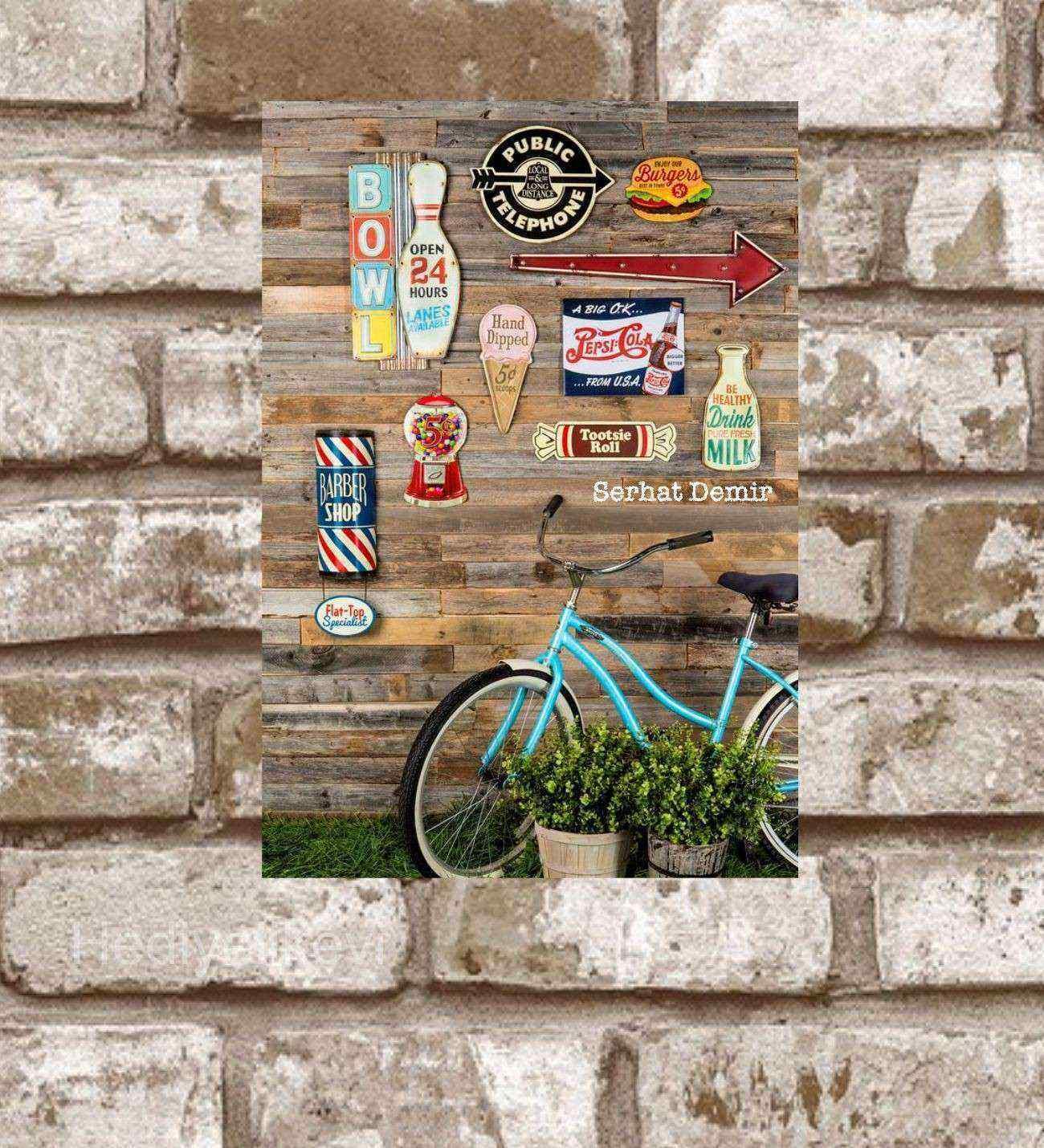 Kişiye Özel Metal Sempati Bisiklet Retro Poster (29x19)