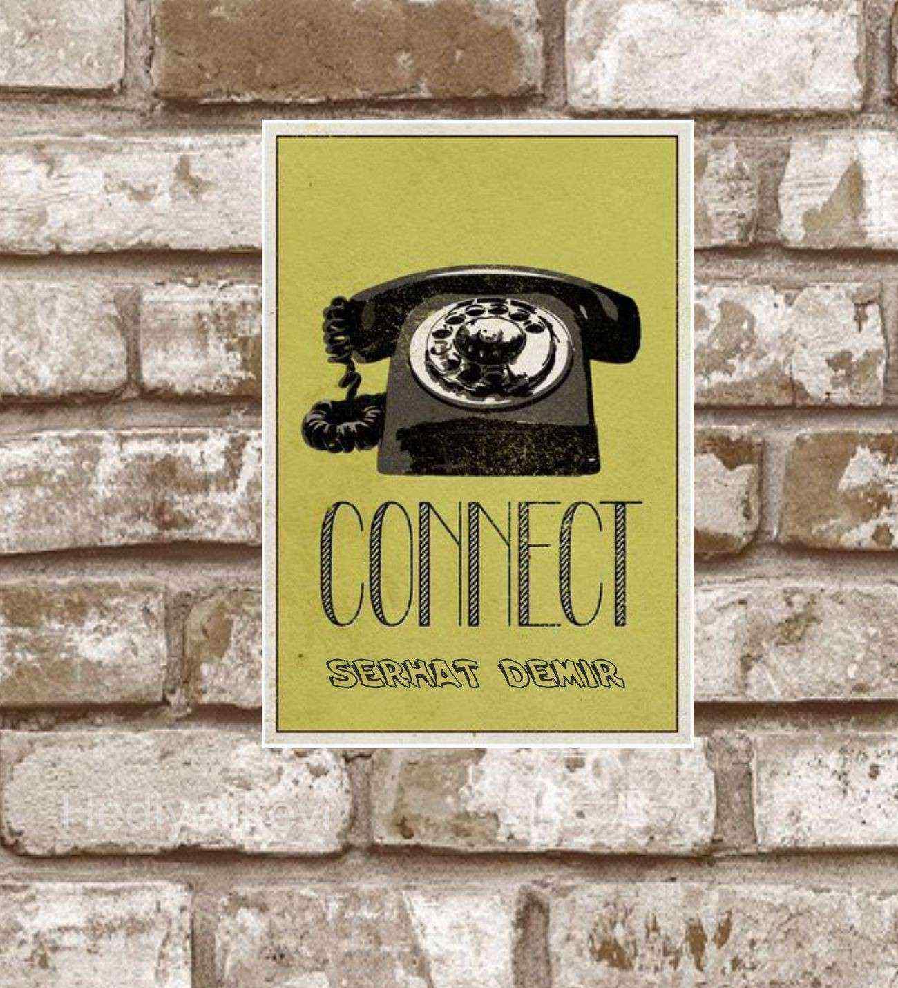 Kişiye Özel Metal Connect Retro Poster (29x19)
