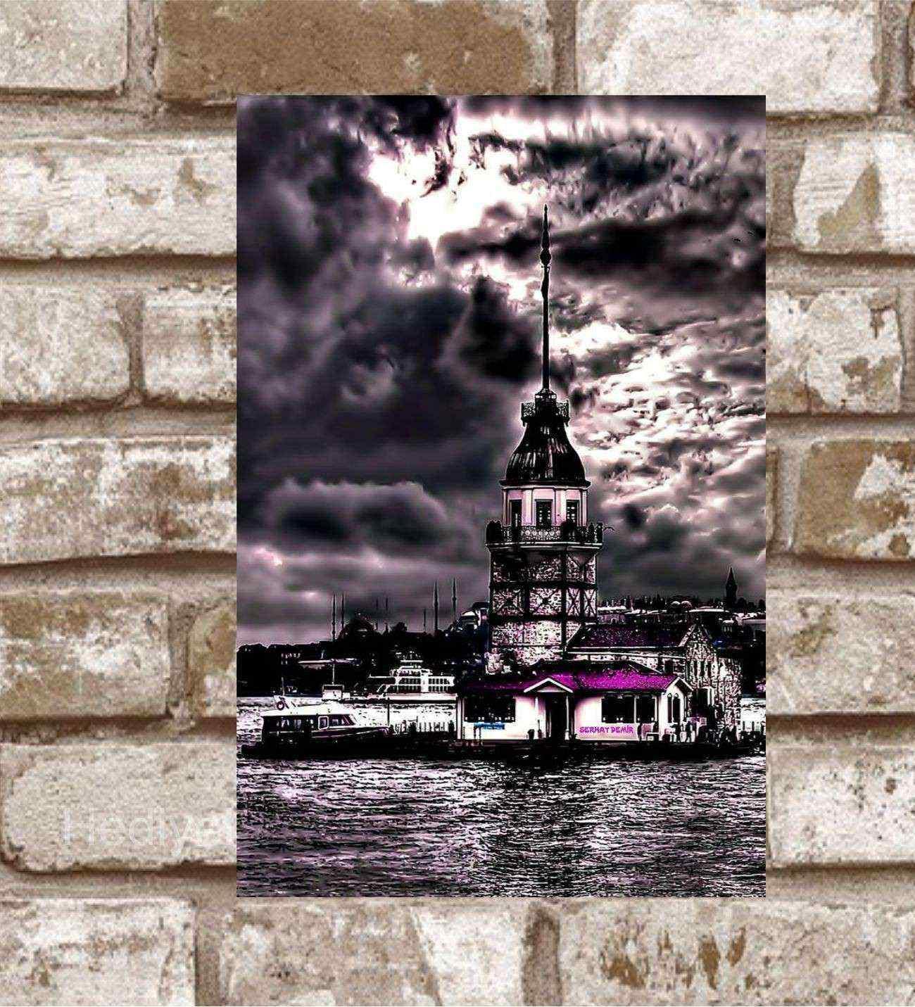 Kişiye Özel Metal Kız Kulesi Retro Poster (29x19)