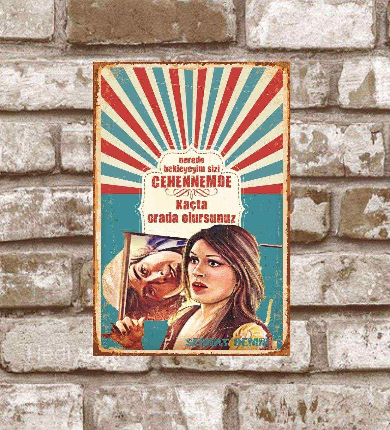 Kişiye Özel Metal Nerede Bekleyeyim Sizi Retro Poster (29x19)