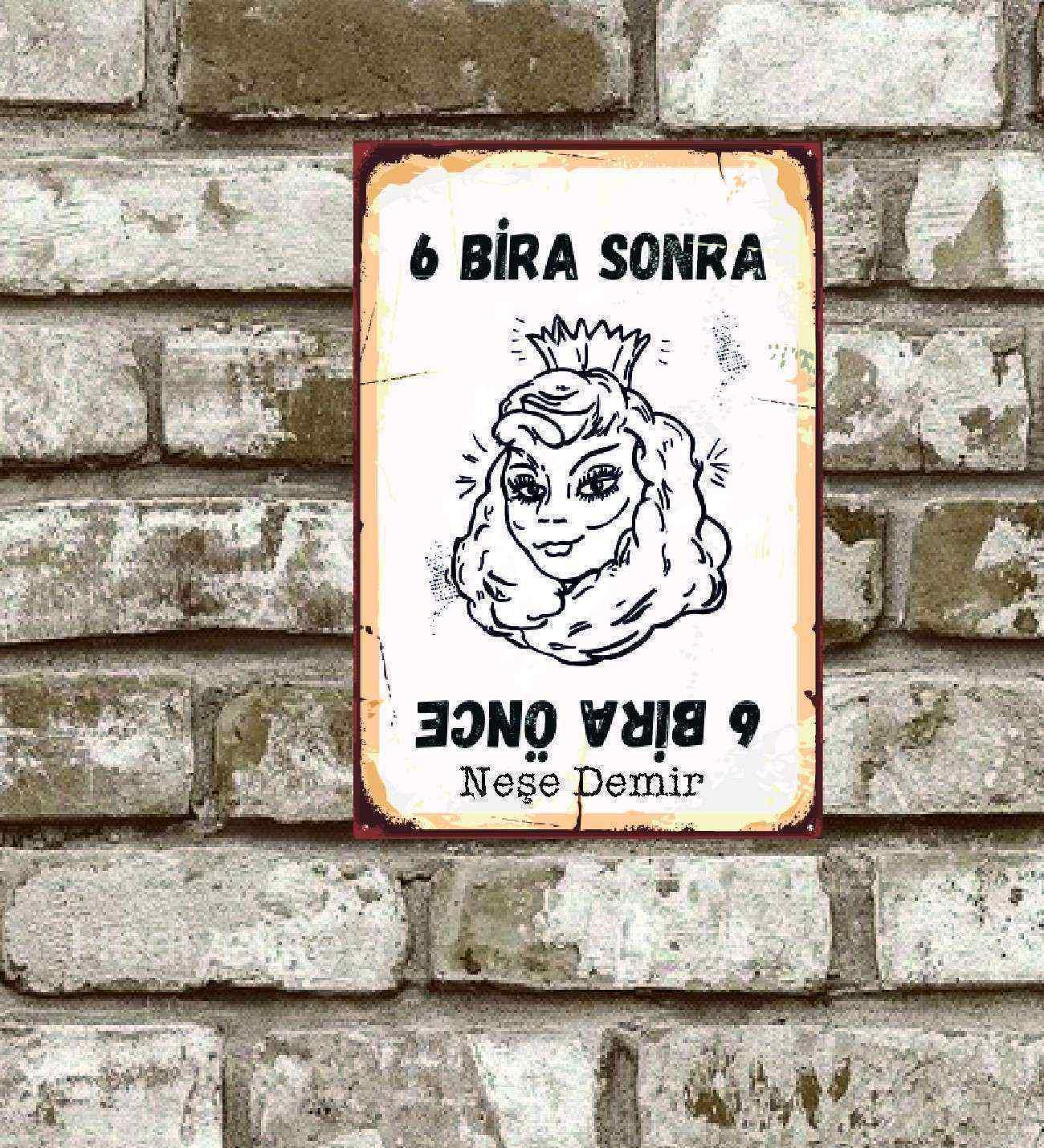 Kişiye Özel Metal 6 Bira Sonra Retro Poster (29x19)