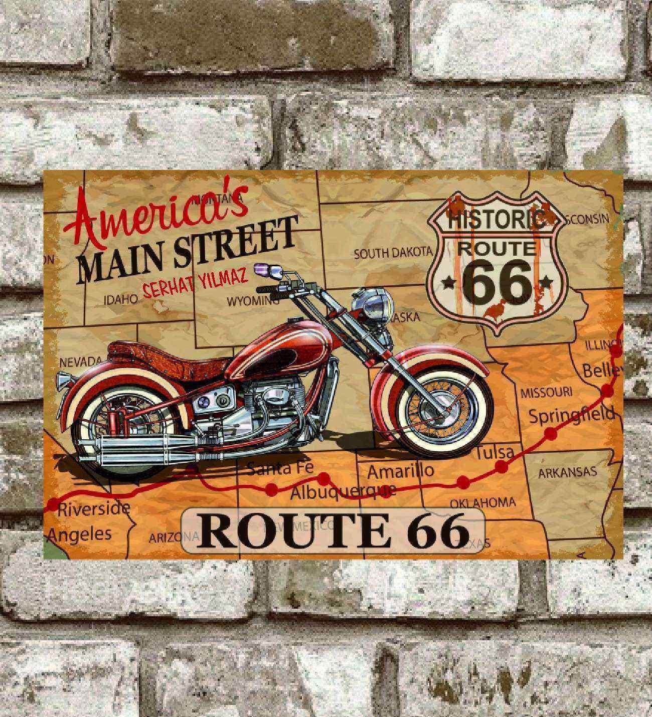 Kişiye Özel Metal Americas Maın Street Route 66 Poster (29x19)
