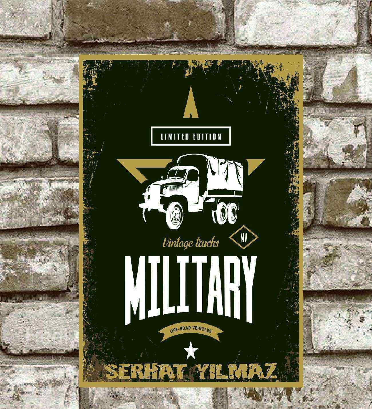 Kişiye Özel Metal Limited Edıtıon Militarry Retro Poster  (29x19)