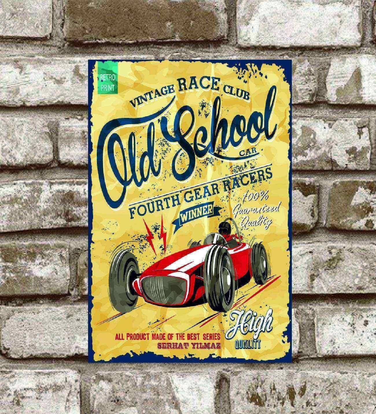 Kişiye Özel Metal Vıntage Race Club Old School Poster (29x19)