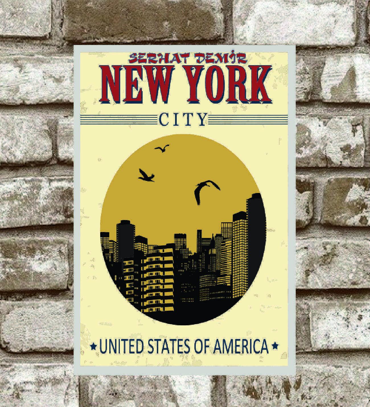 Kişiye Özel Metal New York Retro Poster (29x19)