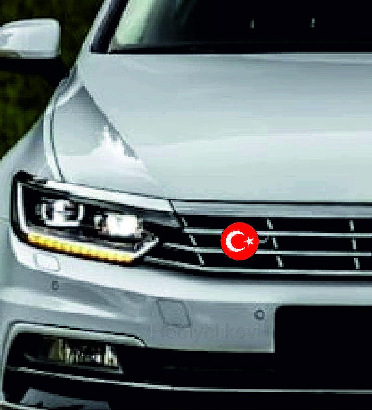 Araç Ön Panjur Logosu Panjur Arma TR Oval Bayrak  logolu